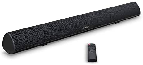 Soundbar, BESTISAN TV Sound Bar with Dual Bass Ports Wired and Wireless Bluetooth 5.0 Home Theater System (28 Inch, Enhanced Bass Technology, 3-Inch Drivers, Bass Adjustable, Wall Mountable, Dsp)