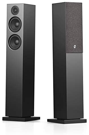 Audio Pro A36 HiFi Stereo Bluetooth WiFi Powered Wireless Multi-Room Home Theater Floor Standing Tower Speakers for Ultimate TV Sound Experience – Pair, Black