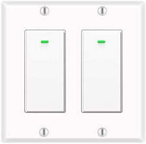 Micmi Smart Switch 2 Gang, Compatible with Alexa and Google Home, No hub Required, Timing Synchronization, Suit for 1/2/3/4 Group Type Switch Box 2pack