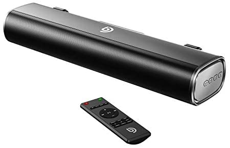 50W Sound Bar, Bomaker 16-Inch Portable 2.0 Soundbar, 105dB, 3D Surround Sound, Wired & Wireless Bluetooth 5.0, Optical/Aux/USB, 3 Equalizer Modes, Built-in DSP, Remote Control, Wall Mountable