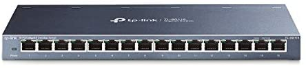 TP-Link 16 Port Gigabit Ethernet Network Switch | Desktop/ Wall-Mount | Lifetime Protection | Fanless | Sturdy Metal w/ Shielded Ports | Traffic Optimization | Unmanaged (TL-SG116)