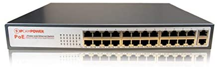 IPCamPower 24 Port POE Network Switch W/ 2 Gigabit Uplink Ports | Designed for IP Cameras | POE+ Capable of Pushing 30 Watts per Port | 250 Watts Total Budget