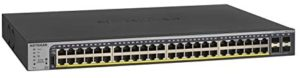 NETGEAR 52-Port Gigabit Ethernet Smart Managed Pro PoE Switch (GS752TP) – with 48 x PoE+ @ 380W, 4 x 1G SFP, Desktop/Rackmount, and ProSAFE Lifetime Protection