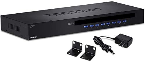 TRENDnet 8-Port USB/PS2 Rack Mount KVM Switch, TK-803R, VGA & USB Connection, Supports USB & PS/2 Connections, Device Monitoring, Auto Scan, Audible Feedback, Control up to 8 Computers/Servers