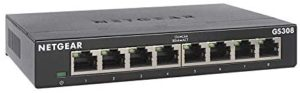 NETGEAR 8-Port Gigabit Ethernet Unmanaged Switch (GS308) – Home Network Hub, Office Ethernet Splitter, Plug-and-Play, Fanless Metal Housing, Desktop or Wall Mount