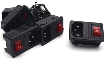 Antrader AC250V 10A IEC 320 C14 Inlet Panel Socket w Fuse w Red Light Rocker Switch Power Supply Connector 6pcs