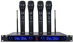 Sound Town 4 Channels Professional UHF Wireless Microphone System with Rack Mountable Metal Receiver and 4 Handheld Mics, for Church, School, Outdoor Wedding, Meeting, Party and Karaoke