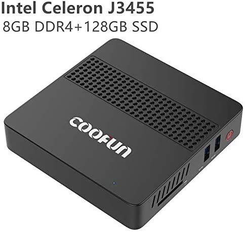 COOFUN Desktop Mini PC Intel Celeron J3455 Processor (up to 2.3GHz),8G LPDDR4/SSD 128GB Windows 10 HDMI&VGA Display 2.4G+5G Dual WiFi USB 3.0/BT 4.2 Support Linux, WOL,PXE Boot and Auto Power On