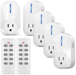 Flexzion Wireless Remote Control Outlet Switch (5 Pack 2 Remotes) – Electrical Remotely AC Power Adapter Socket Plug On and Off Converter Kit for Indoor Home Light Lamps Household Appliance