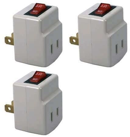 Single Port Power Adapter for Outlet with On/Off Switch to be Energy Saving – 3 Pack