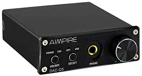 Audio DAC Preamplifier Converter Decoder – Mini Headphone Amplifier, Digital-to-Analog Adapter HiFi Decoding Stereo Preamp, 24Bit/192KHz Optical/ Coaxial /USB to RCA AUX for Home Speakers