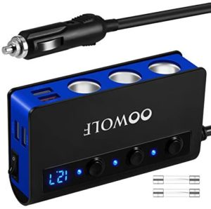 Quick Charge 3.0 Cigarette Lighter Adapter, OOWOLF 180W 12V/24V 3-Socket Car Power DC Outlet Splitter with 4 USB Charging Ports, Upgraded On Off Switch (Black-Blue)