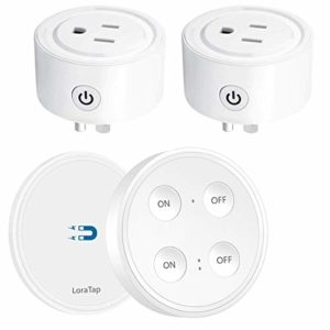 LoraTap Mini Remote Control Outlet Plug Adapter with Remote, 656ft Range Wireless Light Switch for Household Appliances, No Hub Required, 10A/1100W, White, 5 Years Warranty (One Remote + 2 Outlets)