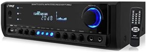 Home Audio Power Amplifier System – 300W 4 Channel Theater Power Stereo Sound Receiver Box Entertainment w/ USB, RCA, AUX, Mic w/ Echo, LED, Remote – For Speaker, iPhone, PA, Studio Use – Pyle PT390AU