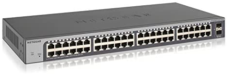 NETGEAR 50-Port Gigabit Ethernet Smart Managed Plus Switch (GS750E) – with 2 x 1G SFP, Desktop/Rackmount, and ProSAFE Lifetime Protection