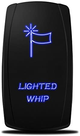 MICTUNING MIC-LSW1 5Pin Laser Lighted Whip Rocker Switch On-Off LED Light 20A 12V, Blue