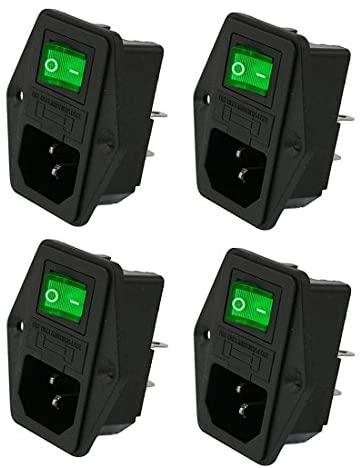 Oiyagai 4 Sets IEC320 C14 Inlet Module Connector Fuse Switch Male Power Socket w Switch AC 250V 10A Green Light