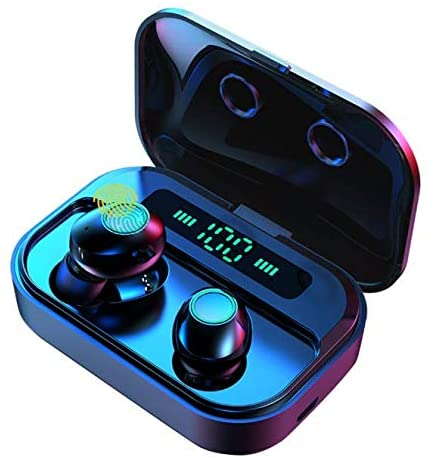 True Wireless Earbuds,IPX7 Waterproof Sport Smart Touch Headphones of Small Y12 in-Ear Earphones Bluetooth 5.0 Stereo Hi-Fi Sound with 2200mA Charging Case LED Battery Dispaly and Mic(Black)
