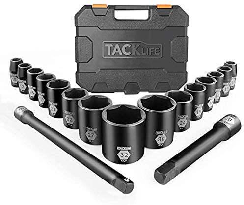 TACKLIFE 1/2-Inch Drive Large Socket Set, Metric, 10mm-32mm, Cr-V, 6-Point, 17-piece Shallow Impact Sockets Set with Extension Bars-HIS3A