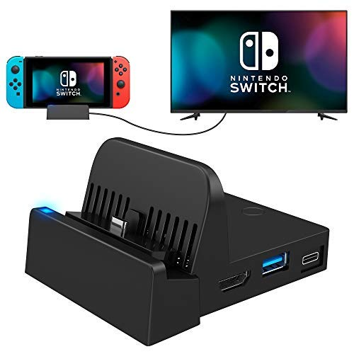 UKOR TV Dock for Nintendo Switch , Pocket Switch Charging Dock 4K HDMI USB3.0 Switch Docking Station PD Protocol Avoids Brick Charger Dock Set with Air Outlet Black(Upgraded System)