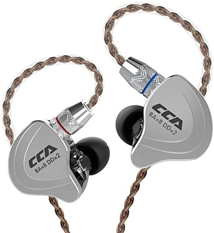 CCA C10 Five Drivers Hybrid in Ear Monitors in Each Side,HiFi 4BA 1DD High Resolution Earphones/Earbuds with 3.5mm Gold Plated Plug Detachable Cable 2pin 0.75mm Wired Earbuds(Black Without mic) …