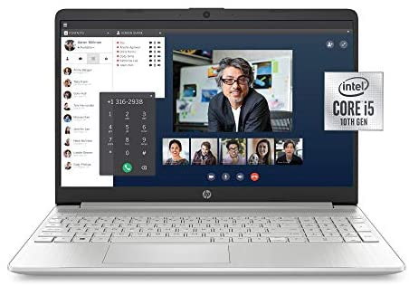 HP 15-Inch FHD Laptop, 10th Gen Intel Core i5-1035G1, 8 GB RAM, 256 GB Solid-State Drive, Windows 10 Home (15-dy1036nr, Natural Silver)