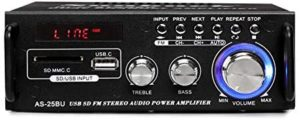 180W Wireless Bluetooth Stereo Amplifier, Sunbuck Dual Channel Sound Power Audio Receiver w/USB, SD Card, FM Radio for Home Theater Entertainment Speakers with Remote Control (AS-25BU)