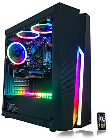 Gaming PC Desktop Computer Intel i5 3.10GHz,8GB Ram,1TB Hard Drive Storage,Windows 10 pro,WiFi Ready,Video Card Nvidia GTX 650 1GB, 3 RGB Fans with Remote