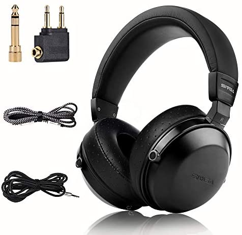 SIVGA SV003 Wooden Over-Ear Noise Cancelling Hi-Fi Stereo Studio Monitoring Close Back Headphones with Soft Earmuffs & Headset, Microphone, Leather Case (Black)