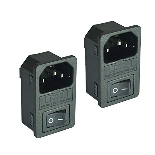 2pcs FILSHU Large Current Inlet Male Power Socket with 15A Rocker Switch and Fuse,15A 250V 3Pin IEC320 C14