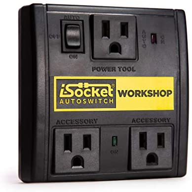 i-Socket Workshop Automated Vacuum Switch – Power Tool Activated Sensor and Automatic Shutoff – Workshop Safety Device – For Contractors and Woodworkers