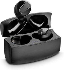 YW YUWISS T04 Bluetooth 5.0 True Wireless Earbuds with Charging Case Cordless in Ear Headphones IPX6 Waterproof with Noise Cancelling Mic for Apple iPhone Android Samsung (Black)