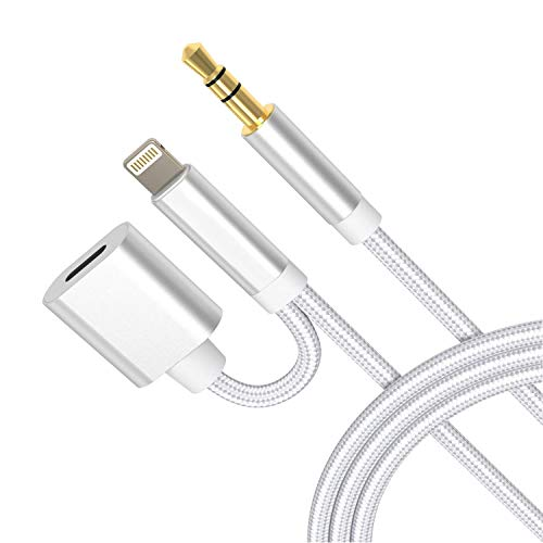 Aux Cord for iPhone, 2 in 1 3.5mm Aux Charging Audio Cable Hi-Fi Sound Aux Cable Compatible with iPhone 11/X/XS/XR/8/7/iPad/iPod for Car, Home Stereo, Speaker, Headphone, Support All iOS System