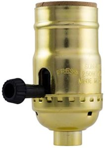 GE 3-Way Lamp Socket, Medium Base, Turn for Low-Medium-High Light Settings, For Floor and Table Lamps, DIY Project, UL Listed, Brushed Gold, 54372