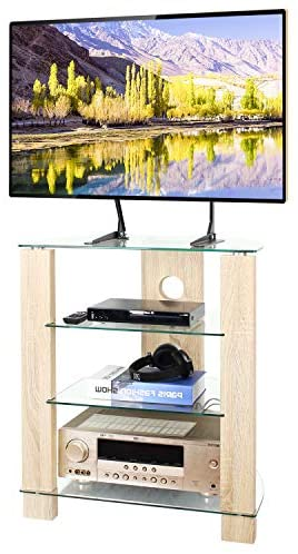 TAVR 4-Tier Wood Media Compontent TV Stand Audio Video Tower Rack HiFi Stereo Cabinet Stand with Tempered Glass Shevles for TV/Xbox/Gaming Consoles/Media Component/Streaming Device,Cable Mangement