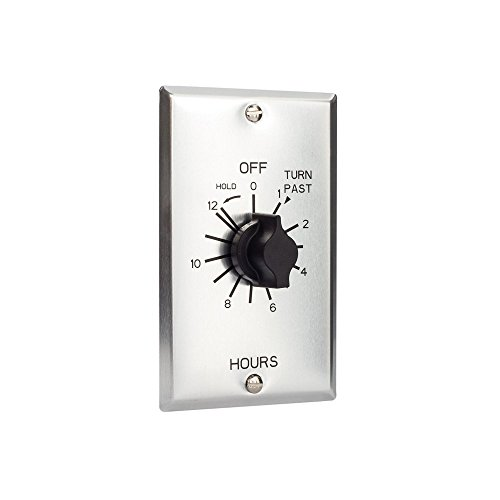 TORK a brand of NSi Industries, LLC C Series Commercial Style Sringwound Auto Off In-Wall Time Switch with Hold, 12 Hours Timer Length, SPST Switch Type – C512HH,Metal-brushed aluminum,#12AWG