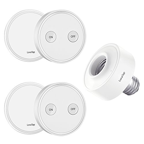 LoraTap Wireless Remote Control E26 Light Socket Kit 656ft 915MHz Range On Off Switch for LED Bulbs and Fixtures, 5 Years Warranty (2pcs Light Switches + 1pc LED Lamp Holder)