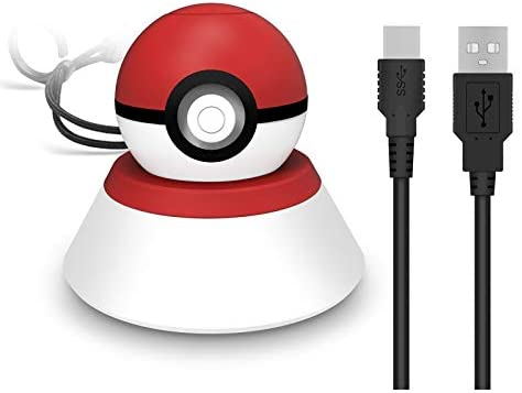 XBERSTAR Charge Stand for Switch Monster Ball Pokeball Plus Controller Bracket with Type –C USB Charger Cable Charging Stock Station Mount