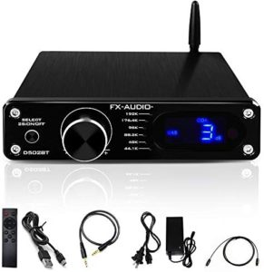 FX AUDIO Bluetooth 5.0 HiFi Amplifier Home Audio for Subwoofer with Remote Control—DSP TAS5342A 60W Desktop Stereo Power Amplifier—24V 4A Power Supply(Black)