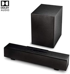 atune analog TV Wired Wireless Sound Bar 2.1 Channel 5.0 Bluetooth Speaker with Wireless Subwoofer Compatible Dolby Digital 16 in Black (SBB-A5520)