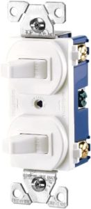 EATON 271W-BOX Arrow Hart 271W Duplex Grounding Toggle Switch, 120/277 Vac, 15 A, 1 Pole, White