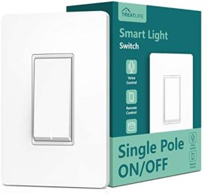 Single Pole Treatlife Smart Light Switch, Neutral Wire Required, 2.4Ghz Wi-Fi Light Switch, Works with Alexa and Google Assistant, Schedule, Remote Control, ETL Listed