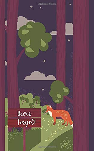 """Never forget!: Password organizer manager book alphabetized with discreet dark """"fox in the forest"""" design (5″x8″) – a great gift for for kids, teenage boys, best friends, dads or oncles"""