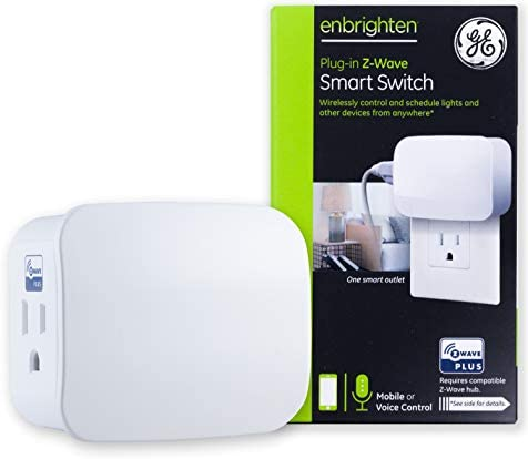 GE Enbrighten Z-Wave Plus Smart Switch 1-Outlet Plug-In, Works with Alexa, Google Assistant, Repeater/Range Extender, for Lamps & Small Appliances, ZWave Hub Required, 28169,White