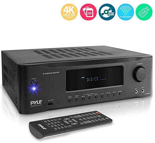 5.2-Channel Hi-Fi Bluetooth Stereo Amplifier – 1000 Watt AV Home Speaker Subwoofer Sound Receiver W/ Radio, USB, RCA, HDMI, Mic In, Wireless Streaming, Supports 4K UHD TV, 3D, Blu-Ray – Pyle PT694BT