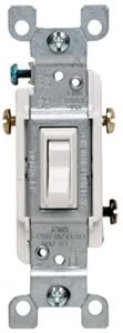 Leviton 1453-2WM 15 Amp, 120 Volt, Toggle Framed 3-Way AC Quiet Switch, Residential Grade, Grounding, Quickwire Push-In & Side Wired, 6-Pack, White