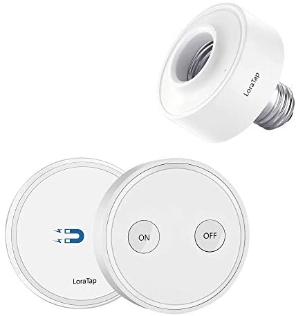 LoraTap Wireless Remote Control E26 Light Bulb Socket Lamp Switch Kit 656ft 915MHz Range Remote Control LED Light Fixtures 30W Max. (Light Switch + LED Lamp Holder)