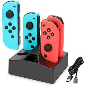 Nintendo Switch Joy-Con Charger, YCCTEAM 4 in 1 Fast Charging Station for Nintendo Switch Joy-Con Controllers with Individual LED Indicator and 5FT USB Charging Cable for Nintendo Switch
