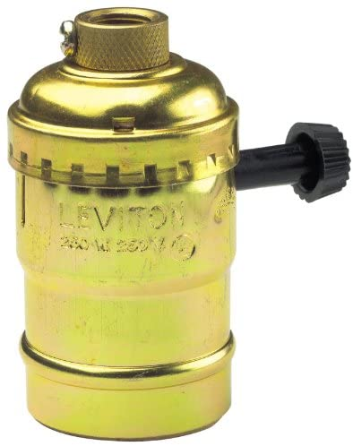 Leviton 7070-PG Electrolier 2-Circuit Lamp Holder, 250 W, Incandescent, Medium, Brass