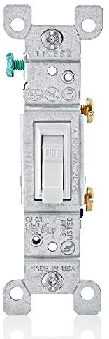Leviton 1451-2WM 15 Amp, 120 Volt, Toggle Framed Single-Pole Ac Quiet Switch, Residential Grade, Grounding, 10-Pack, White